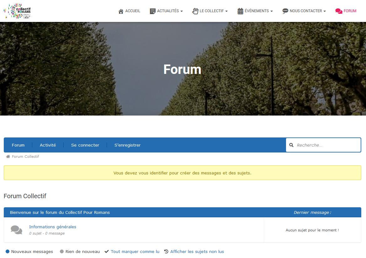 Accueil du forum sans connexion